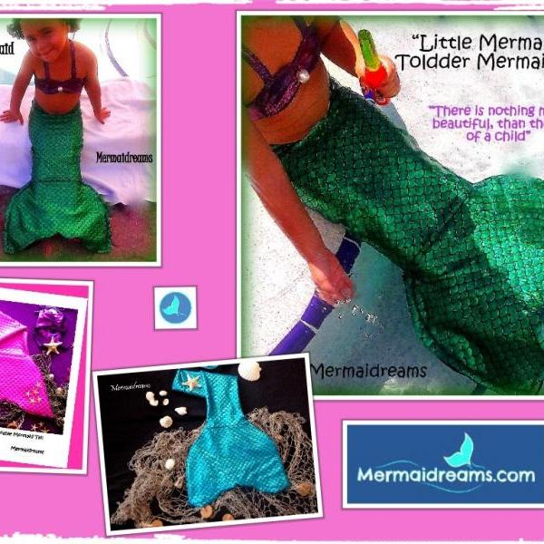 BABY AND TODDLER MERMAID TAIL. HANDMADE BY MERMAIDREAMS. MATCHING TOP INCLUDED