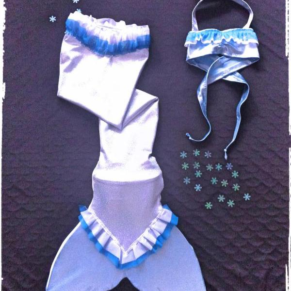 ELSA FROZEN MERMAID TAIL SWIMMABLE. FINIS MERMAID MONOFIN INCLUDED. HANDMADE BY MERMAIDREAMS